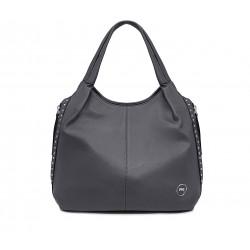 Серая кожаная большая женская сумка