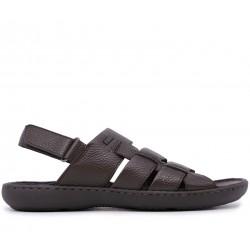 Коричневі шкіряні сандалі