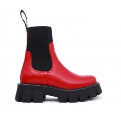 Красные кожаные демисезонные ботинки