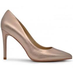 Золотые кожаные демисезонные туфли