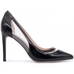 Черные лаковые демисезонные туфли
