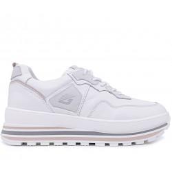 Белые кожаные демисезонные кроссовки